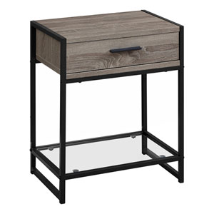 Dark Taupe and Black 12-Inch Accent Table