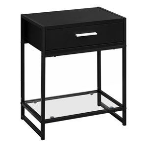 Black 12-Inch Accent Table with Tempered Glass Shelf