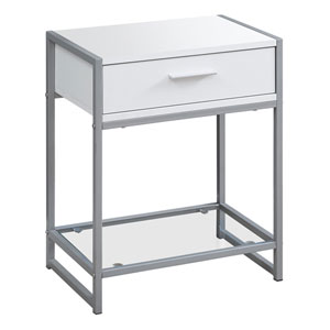 White and Silver 12-Inch Accent Table with One Drawer