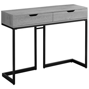 Gray and Black 12-Inch Console Table with Two Drawers
