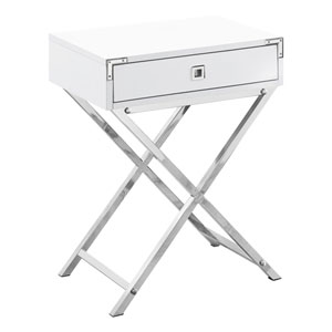 Glossy White and Chrome 12-Inch Accent Table with X Base Legs
