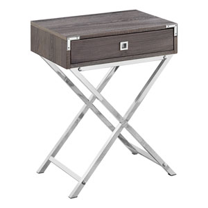 Dark Taupe and Chrome 12-Inch Accent Table with Rectangular Top