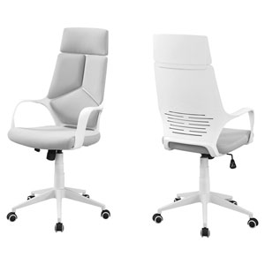 White and Gray 46-Inch High Back Executive Office Chair