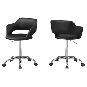 Black and Chrome 29-Inch Hydraulic Lift Base Office Chair