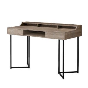 Dark Taupe and Black 22-Inch Computer Desk with Three Open Cubbies