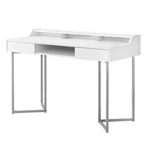 White and Silver 22-Inch Computer Desk with Three Open Cubbies