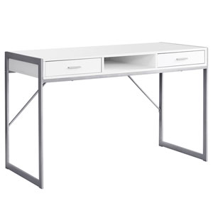 White and Silver 22-Inch Computer Desk with Storage Drawers