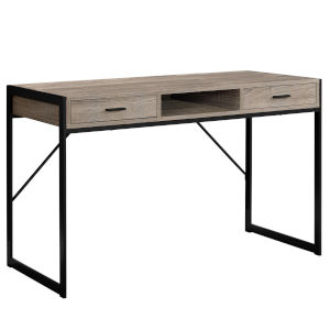 Dark Taupe and Black 22-Inch Computer Desk with Storage Drawers