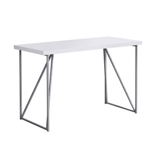 White and Silver 22-Inch Computer Desk with Metal Legs