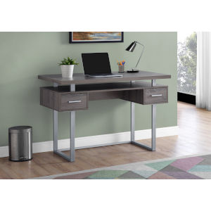 Dark Taupe and Silver 24-Inch Computer Desk