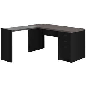 Black and Gray 55-Inch Computer Desk