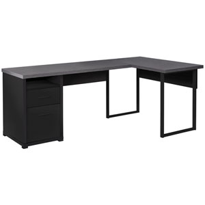 Black and Gray 47-Inch Computer Desk with Side Drawers