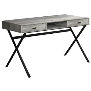 Gray and Black 24-Inch Computer Desk with Crisscross Metal Legs