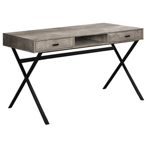 Taupe and Black 24-Inch Computer Desk with Crisscross Metal Legs