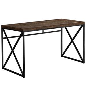 Brown 24-Inch Computer Desk with Crisscross Metal Legs