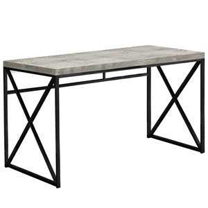 Gray and Black 24-Inch Computer Desk with Crisscross Legs