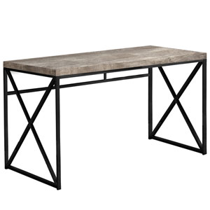 Taupe and Black 24-Inch Computer Desk with Crisscross Legs