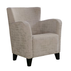 Taupe 35-Inch Brushed Velvet Fabric Accent Chair