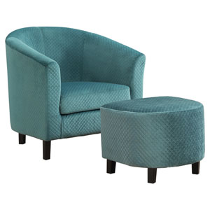 Turquoise 30-Inch Quilted Fabric Accent Chair, 2 Pieces