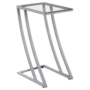 Abbott Silver 16-Inch End Table with Tempered Glass
