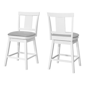 White 39-Inch Swivel Barstool, Set of Two