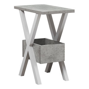 White and Gray End Table