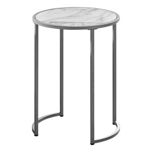 White and Silver Round End Table