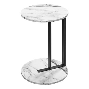 White and Black End Table with Marble Top