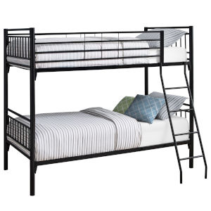 Black Rectangular Twin Bunk Bed