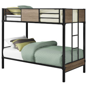 Dark Taupe Black Rectangular Twin Bunk Bed