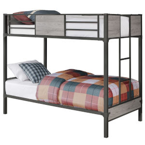Grey Dark Grey Rectangular Twin Bunk Bed