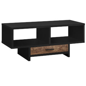 Black and Brown Reclaimed Wood Rectangular Coffee Table