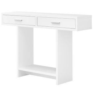 White Rectangular Accent Table with Drawer