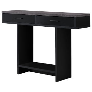 Black Grey Metal Rectangular Accent Table with Drawer