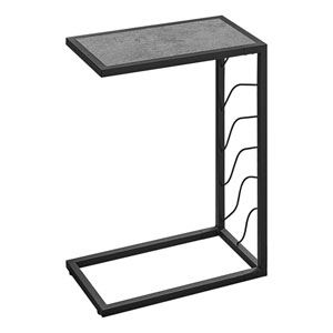 Gray and Black End Table with Marble Top