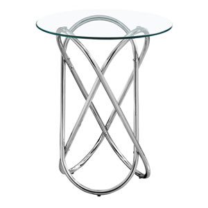 Chrome End Table with Tempered Glass