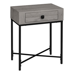 Gray and Black End Table with Drawer