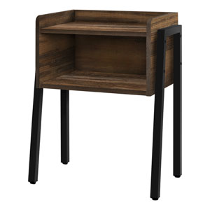 Brown and Black End Table with Open Shelf