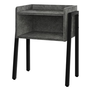Dark Gray and Black End Table with Open Shelf
