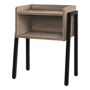 Dark Taupe and Black End Table with Open Shelf