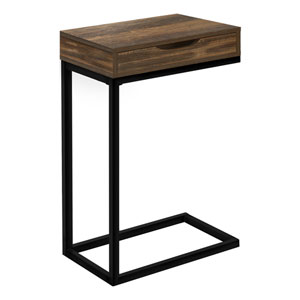 Brown and Black Rectangle End Table
