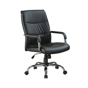 Black 25-Inch Leather Office Chair