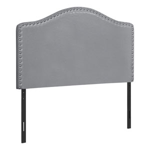 Gray and Black Leather-Look Twin Headboard