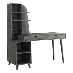 Gray Computer Desk with Bookcase