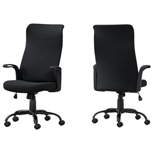 Black 24-Inch Fabric Office Chair
