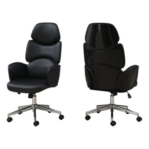 Black 25-Inch Leather High Back Executive Office Chair