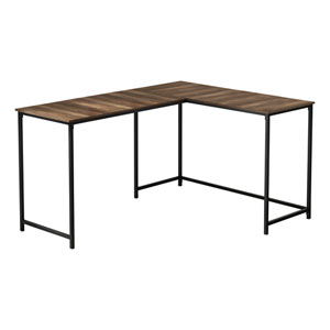 Brown Reclaimed and Black L-Shaped Computer Desk