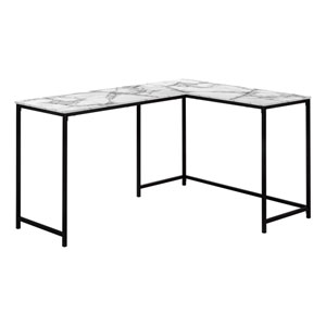 White and Black 44-Inch L-Shaped Computer Desk