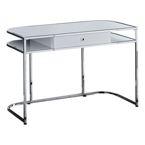 Glossy White and Silver Computer Desk
