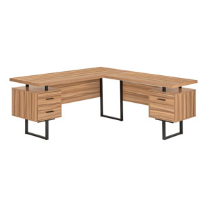 Reclaimed Wood and Black L-Shaped Computer Desk